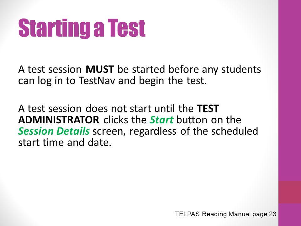 Starting a Test