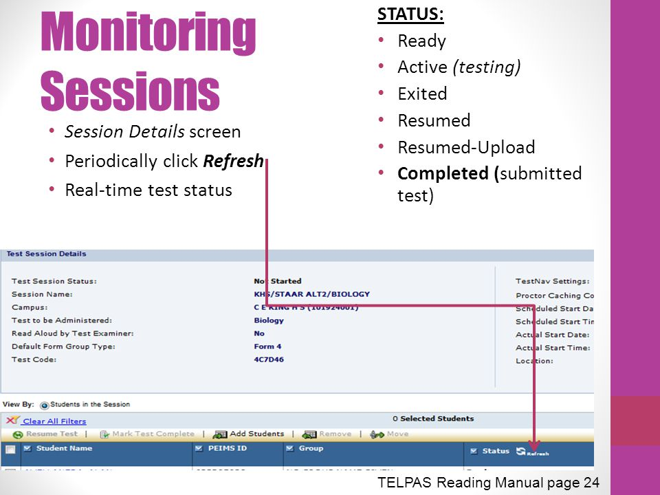 Monitoring Sessions STATUS: Ready Active (testing) Exited Resumed