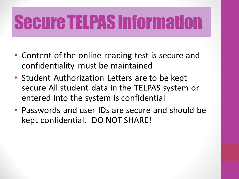 Secure TELPAS Information
