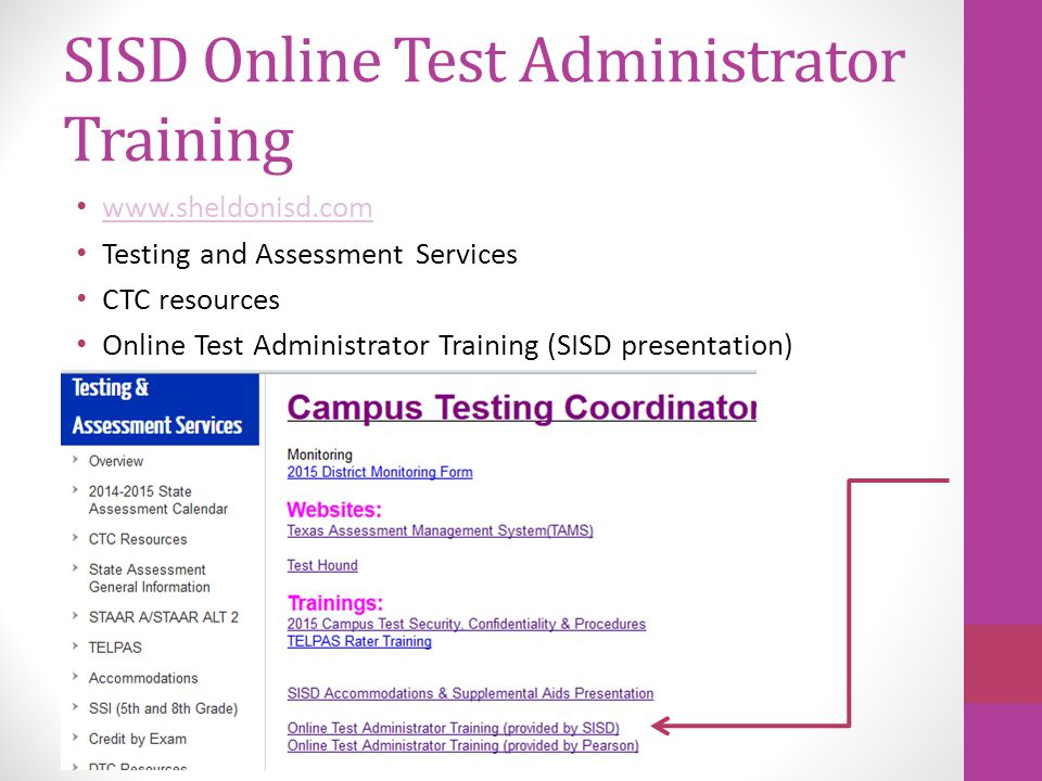 SISD Online Test Administrator Training