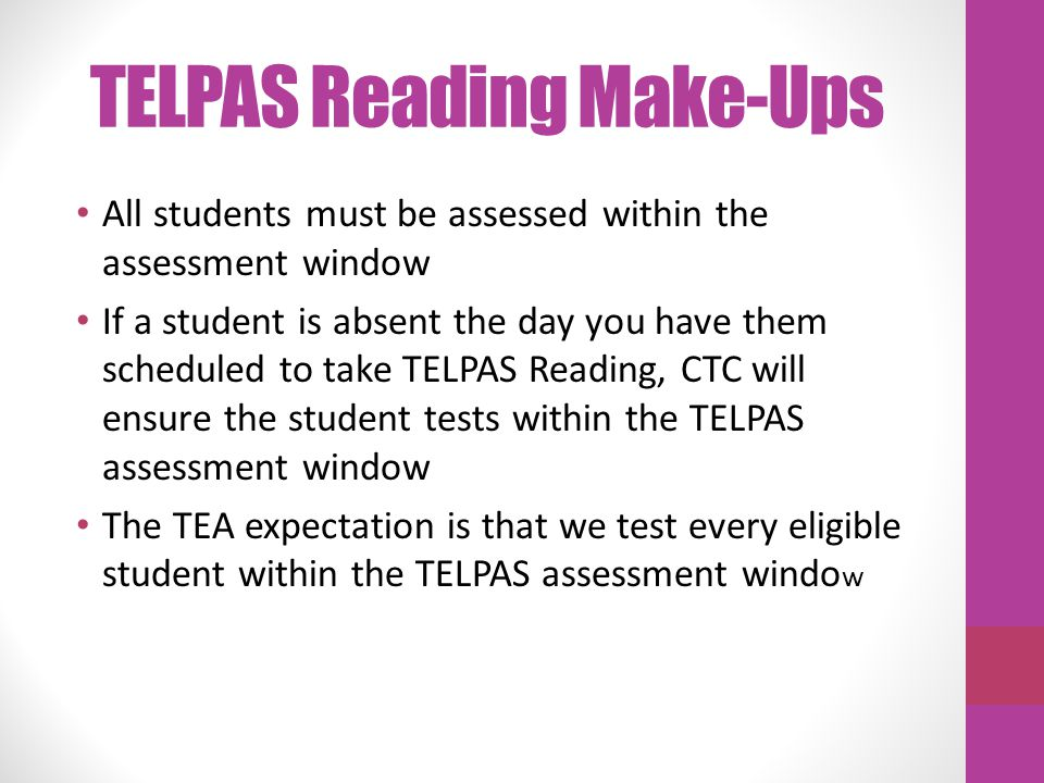 TELPAS Reading Make-Ups