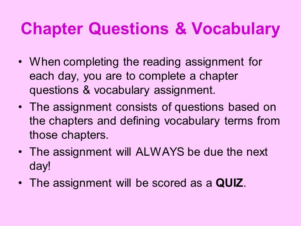 Chapter Questions & Vocabulary