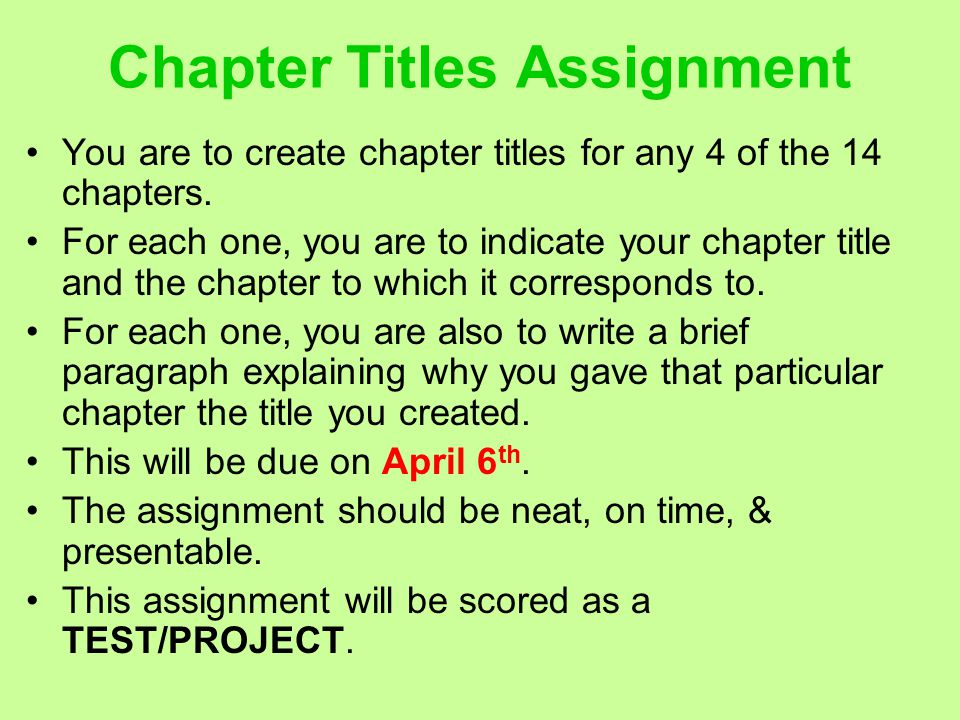 Chapter Titles Assignment