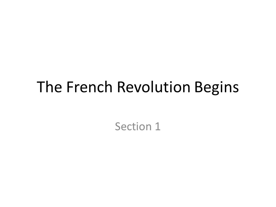 The French Revolution Begins