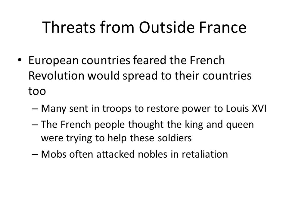 Threats from Outside France