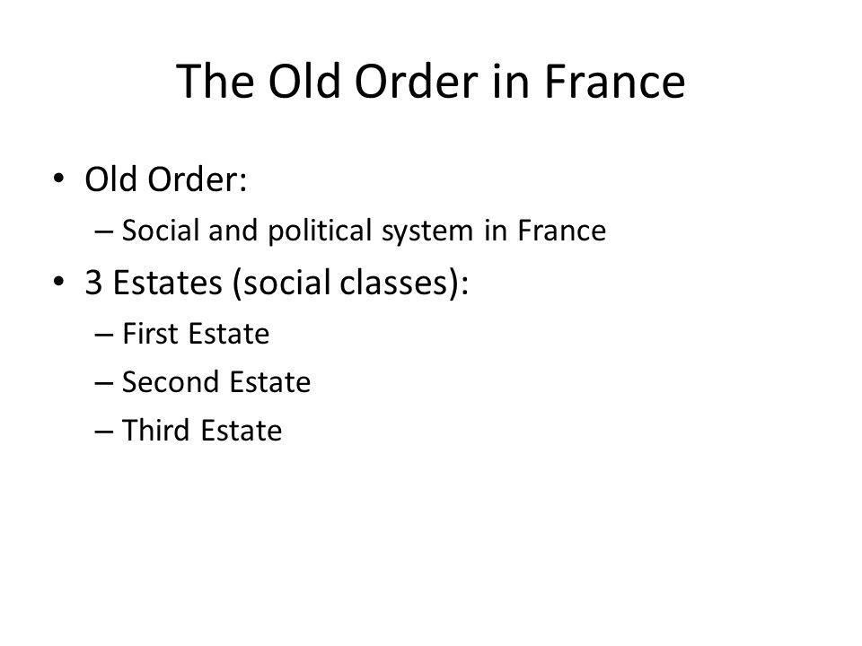 The Old Order in France Old Order: 3 Estates (social classes):