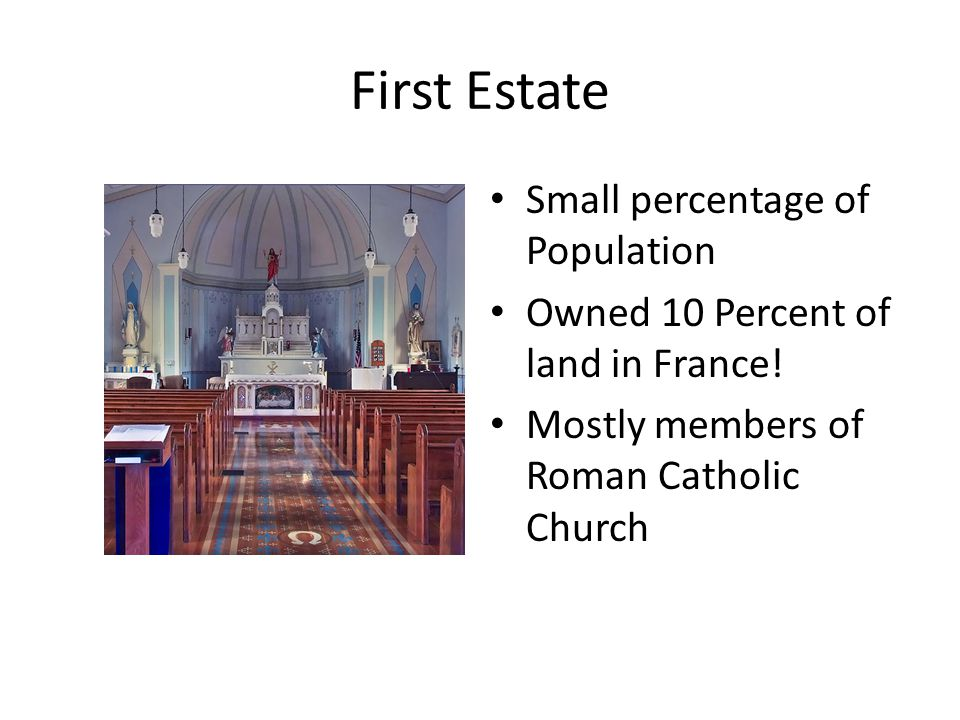 First Estate Small percentage of Population