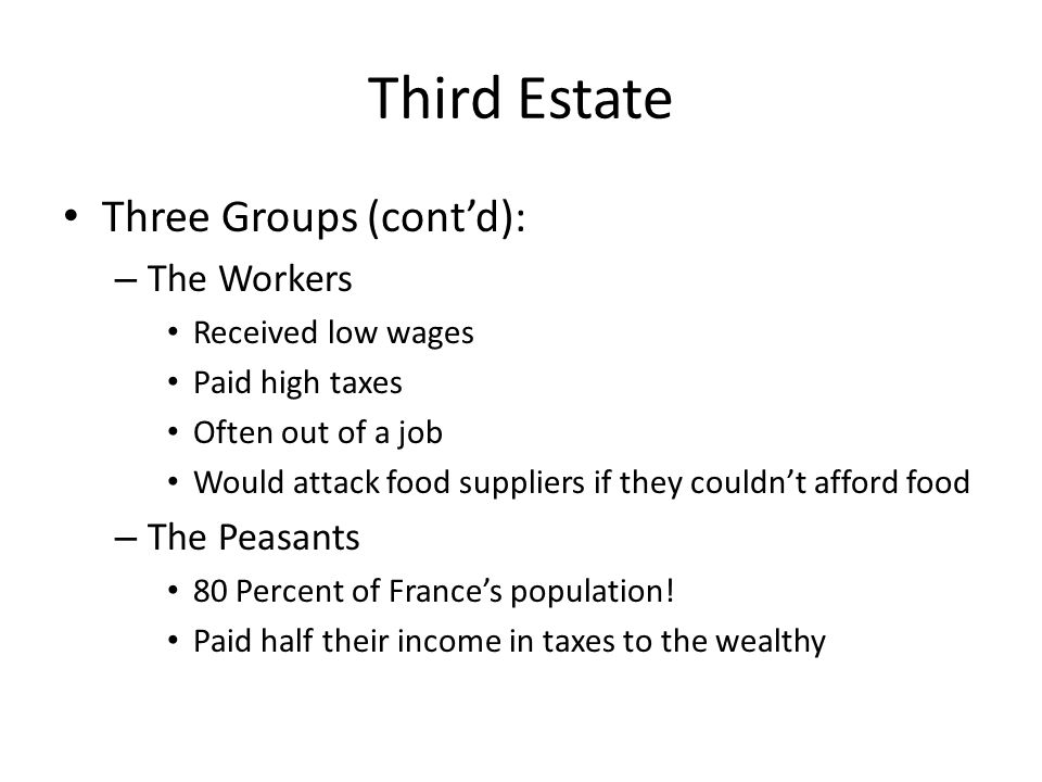 Third Estate Three Groups (cont'd): The Workers The Peasants