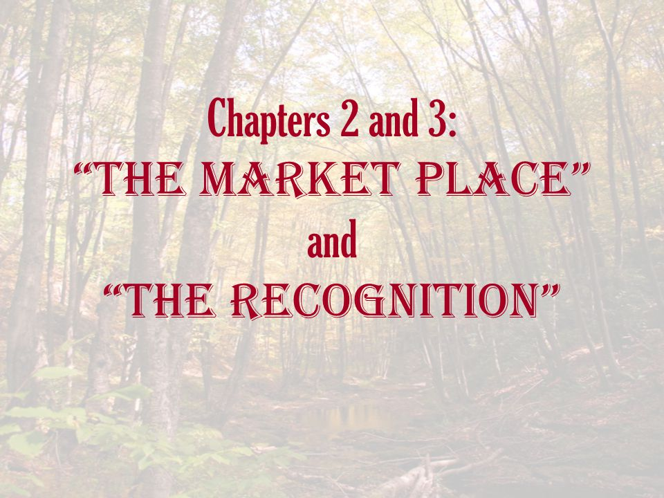 Chapters 2 and 3: The Market Place and The Recognition