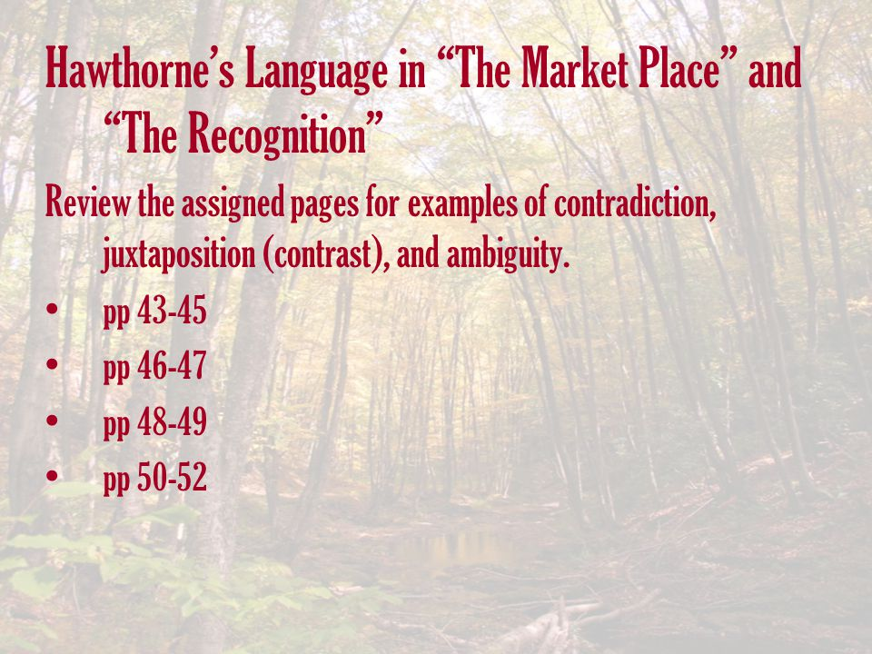 Hawthorne's Language in The Market Place and The Recognition