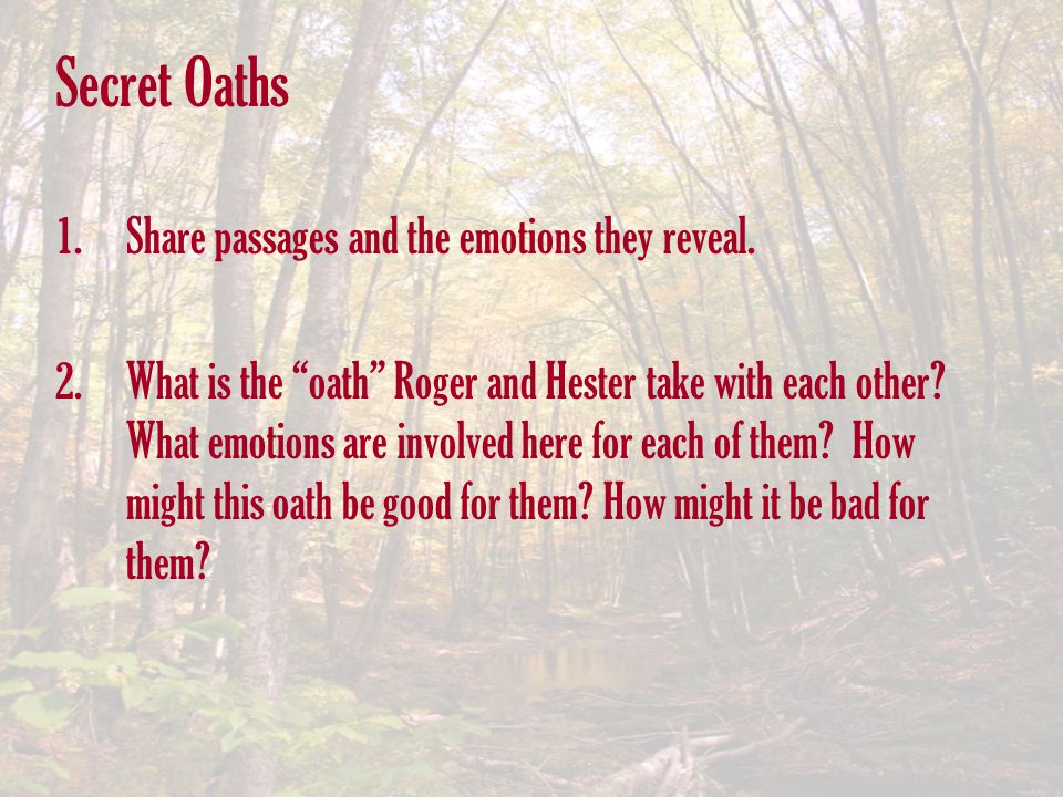 Secret Oaths Share passages and the emotions they reveal.