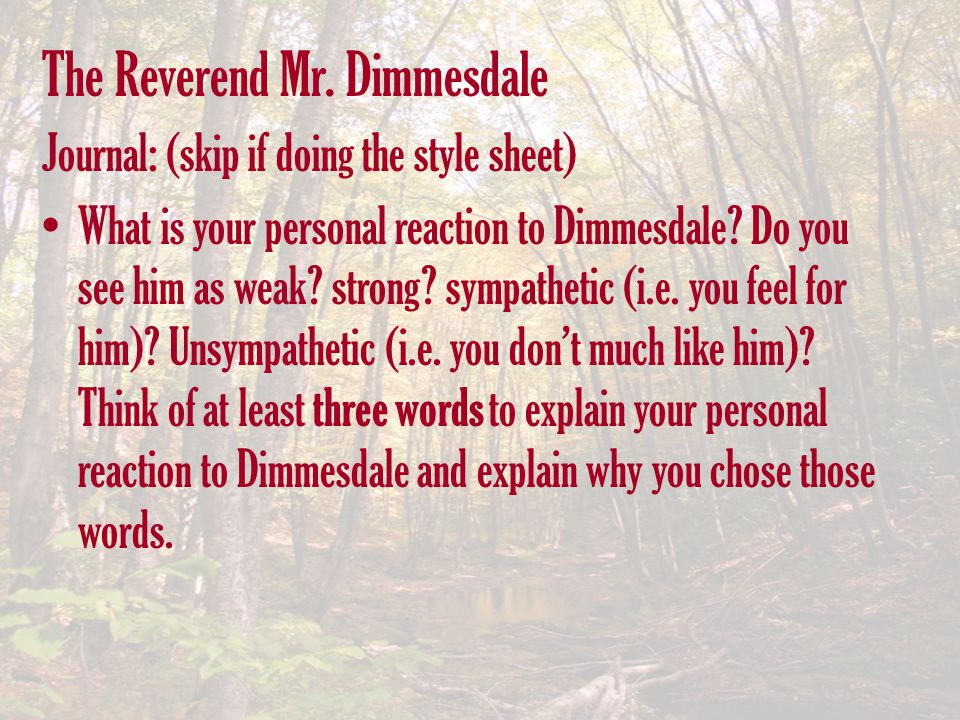 The Reverend Mr. Dimmesdale