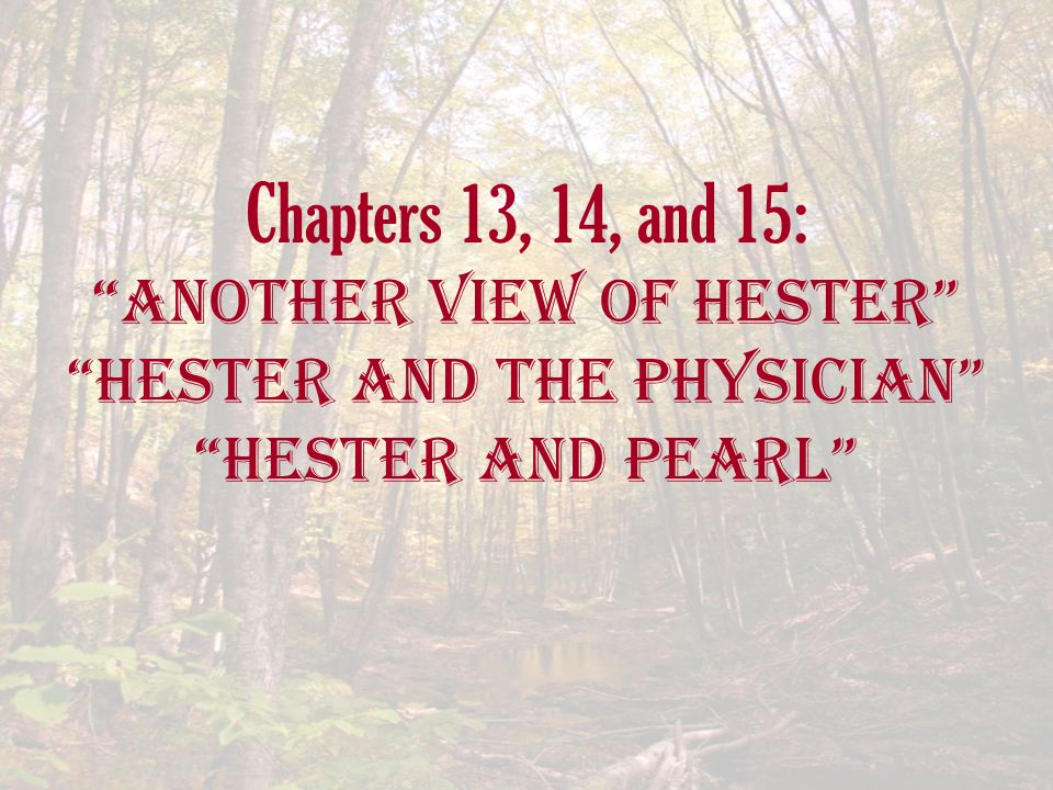 Chapters 13, 14, and 15: another View of Hester Hester and the Physician Hester and Pearl