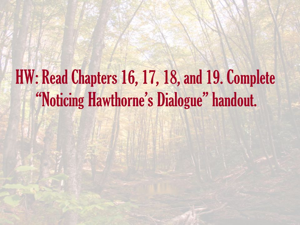 HW: Read Chapters 16, 17, 18, and 19. Complete Noticing Hawthorne's Dialogue handout.