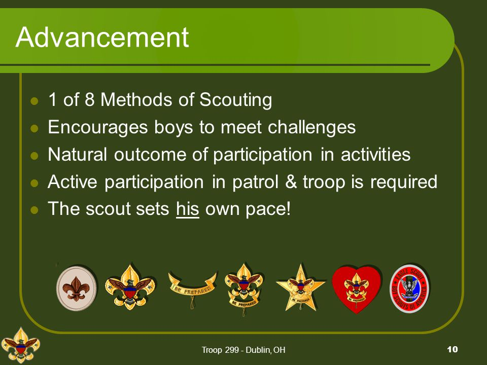 Advancement 1 of 8 Methods of Scouting