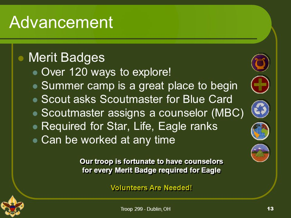 Advancement Merit Badges Over 120 ways to explore!