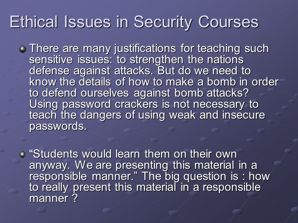 Ethical Issues in Security Courses