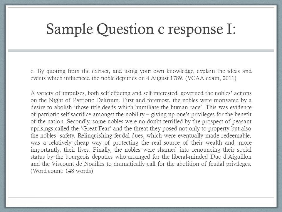 Sample Question c response I: