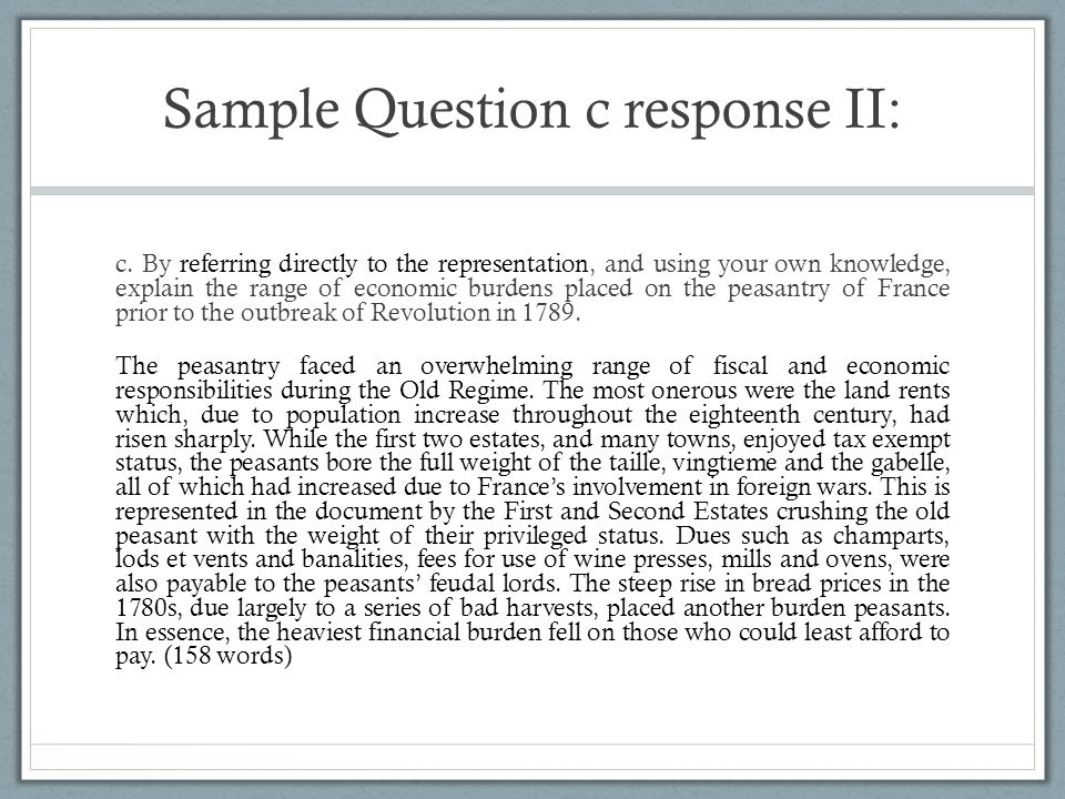 Sample Question c response II: