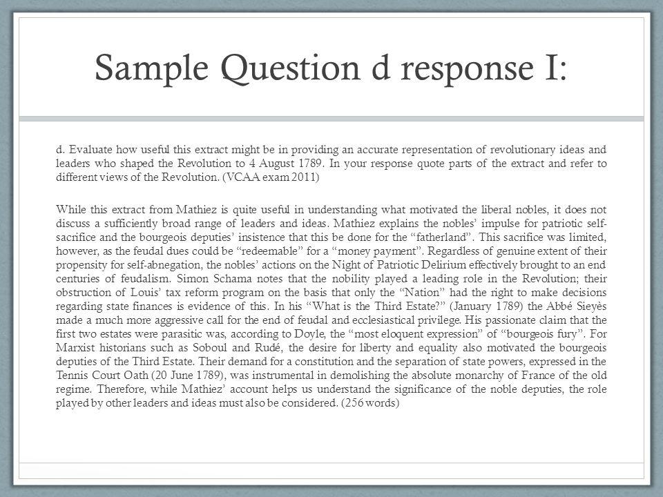 Sample Question d response I: