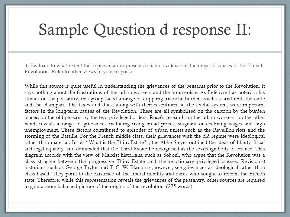 Sample Question d response II: