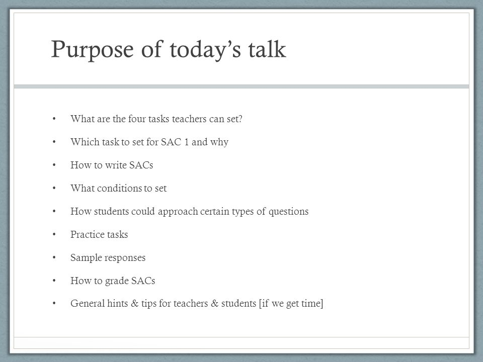 Purpose of today's talk