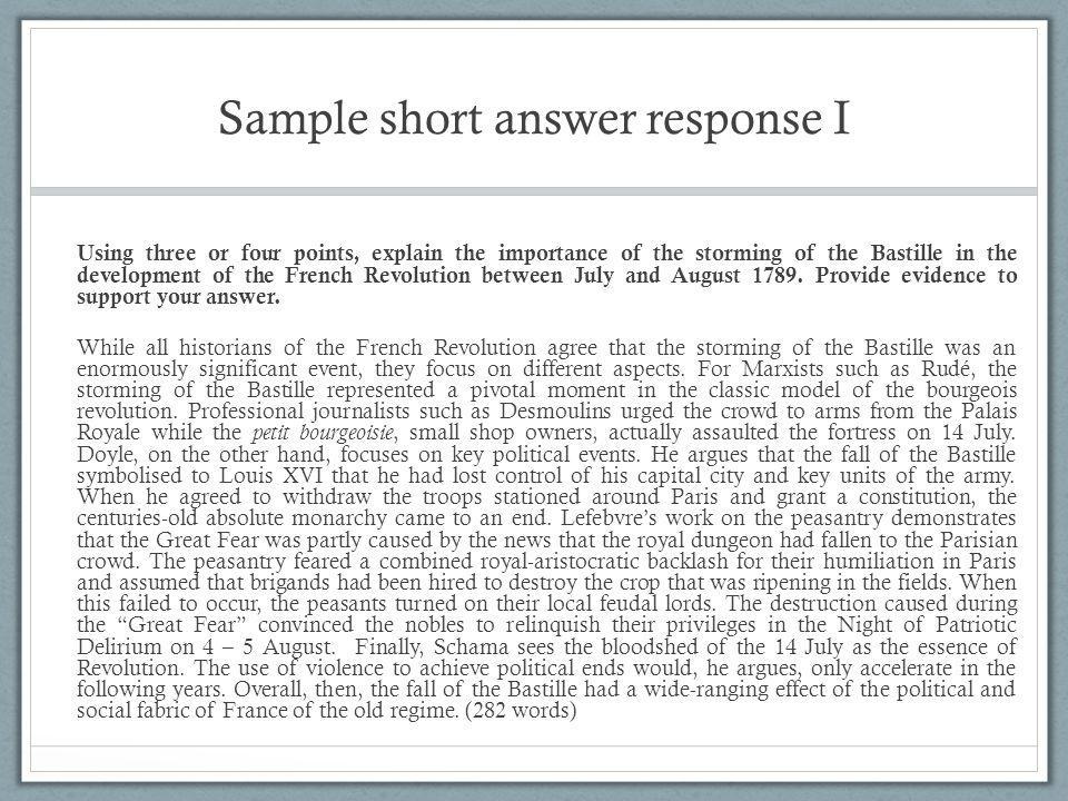 Sample short answer response I