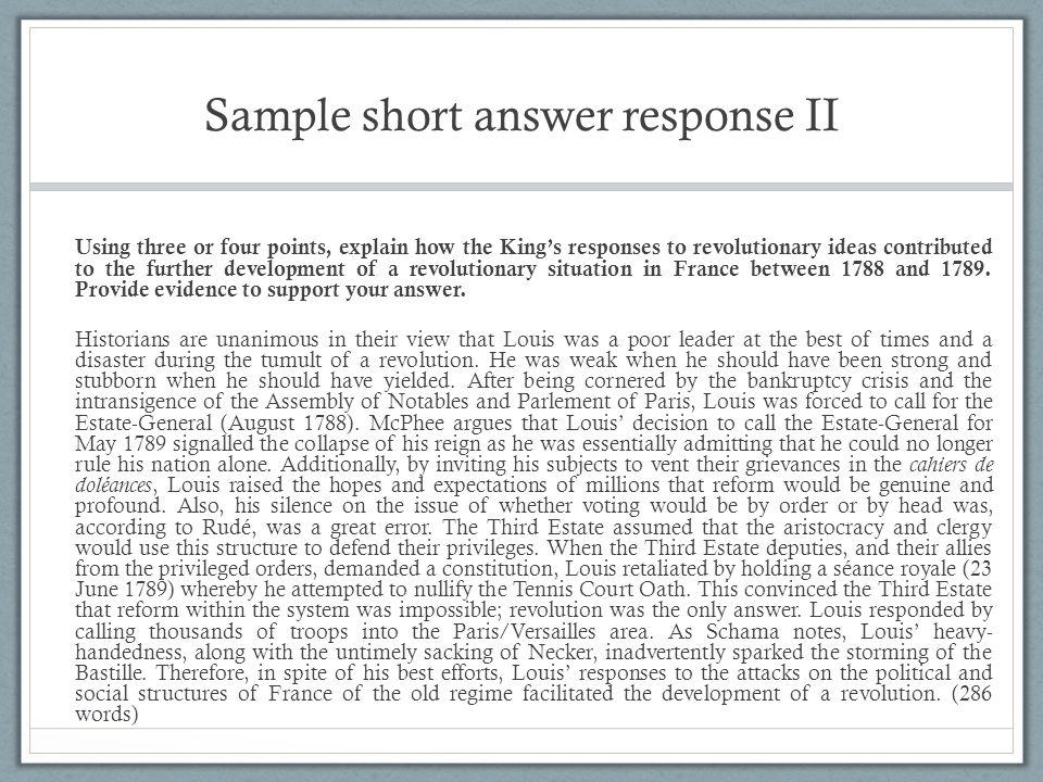 Sample short answer response II