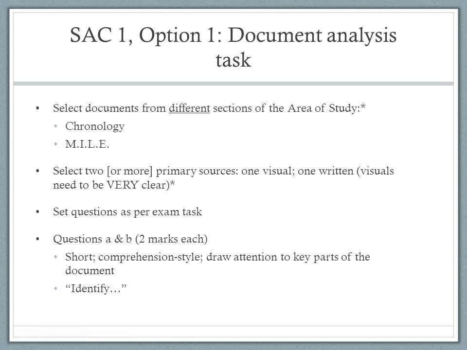 SAC 1, Option 1: Document analysis task