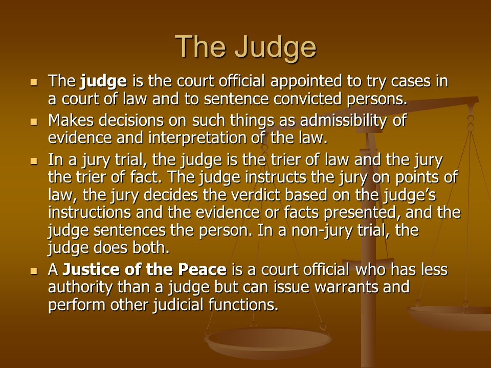 The Judge The judge is the court official appointed to try cases in a court of law and to sentence convicted persons.