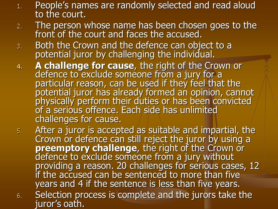 People's names are randomly selected and read aloud to the court.