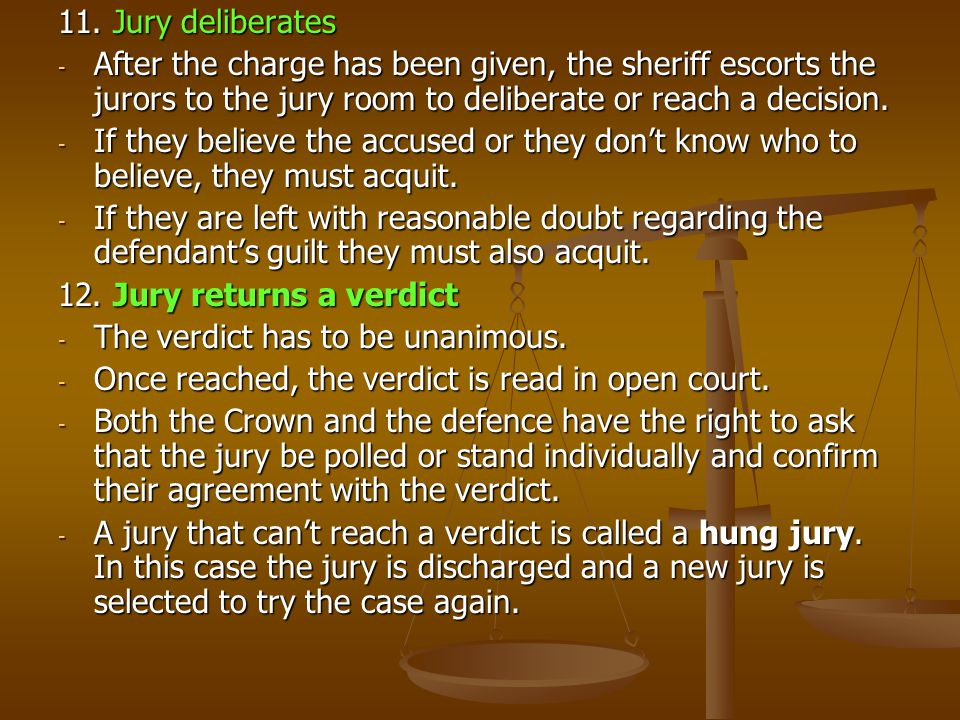 11. Jury deliberates After the charge has been given, the sheriff escorts the jurors to the jury room to deliberate or reach a decision.