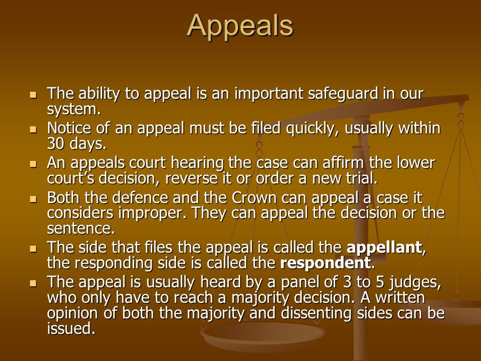 Appeals The ability to appeal is an important safeguard in our system.