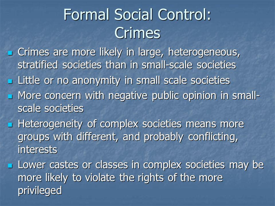 Formal Social Control: Crimes