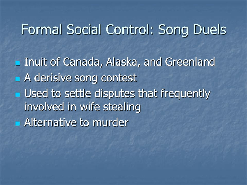Formal Social Control: Song Duels