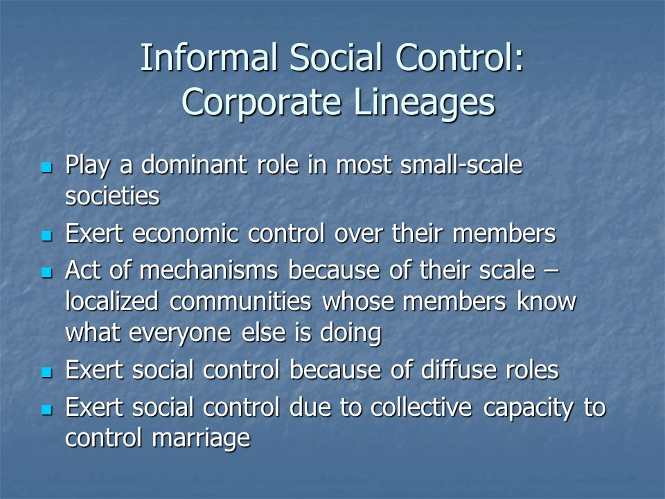 Informal Social Control: Corporate Lineages