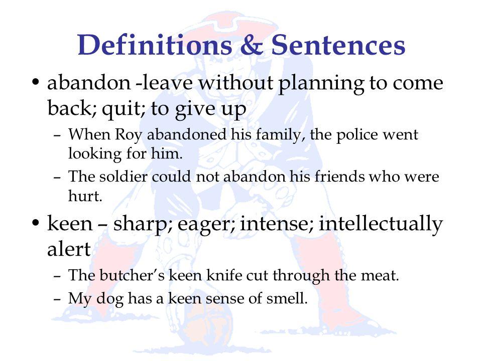 Definitions & Sentences