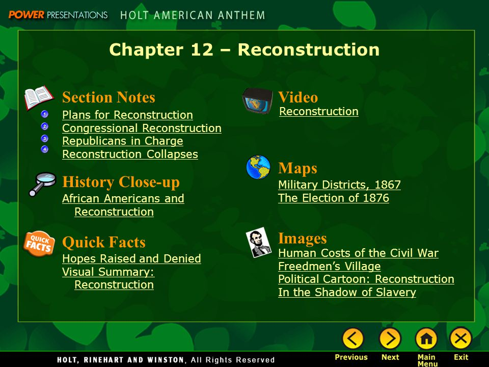 Chapter 12 – Reconstruction