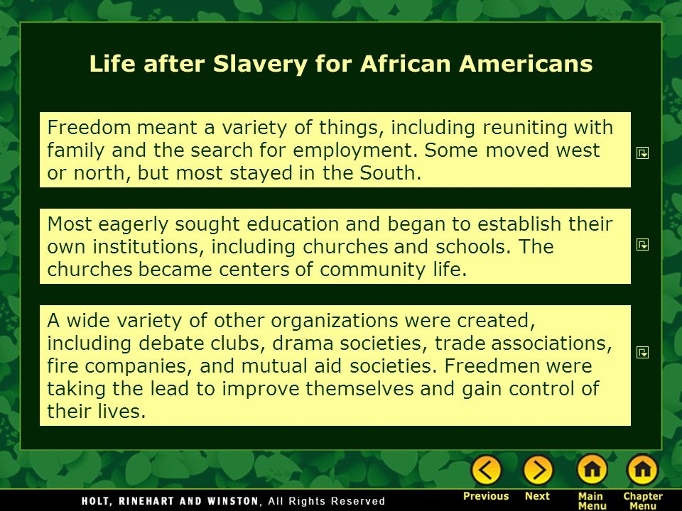 Life after Slavery for African Americans