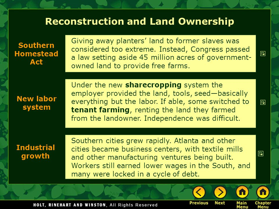 Reconstruction and Land Ownership