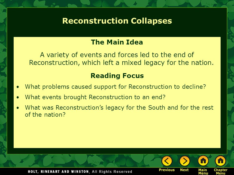 Chapter 12 – Reconstruction - ppt download