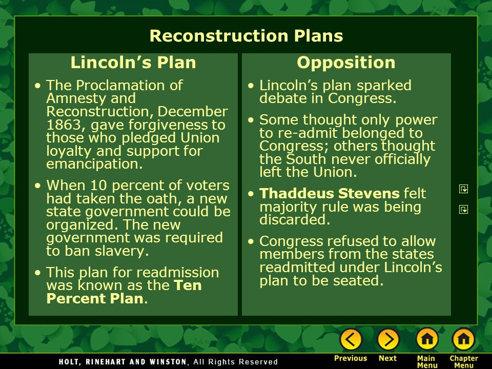 Reconstruction Plans Lincoln's Plan Opposition