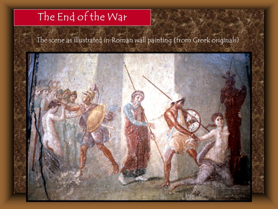 The scene as illustrated in Roman wall painting (from Greek originals)
