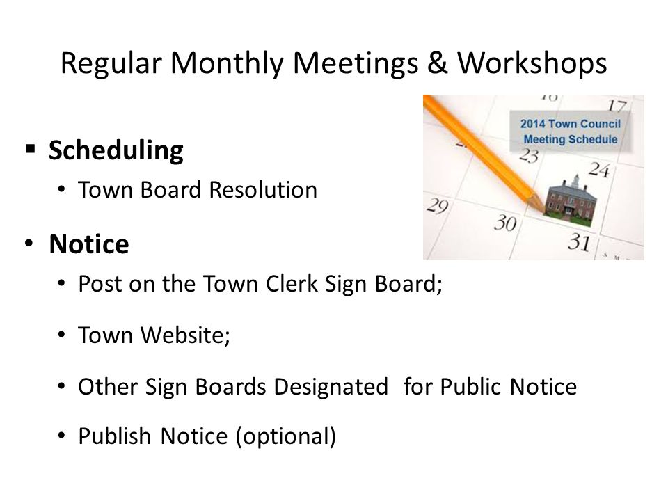 Regular Monthly Meetings & Workshops