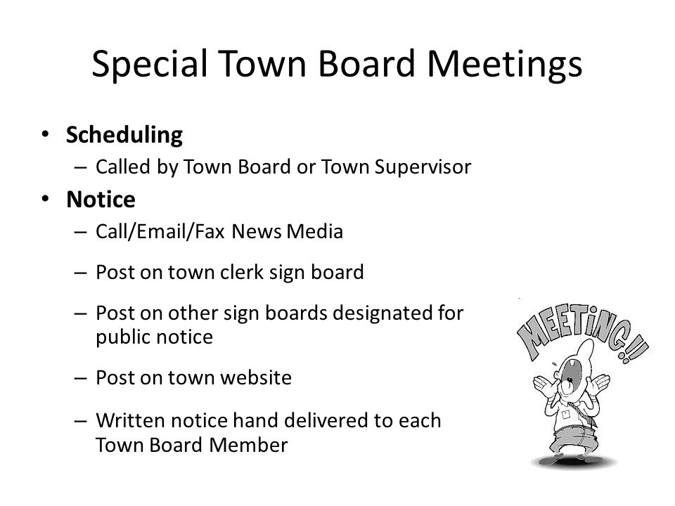 Special Town Board Meetings