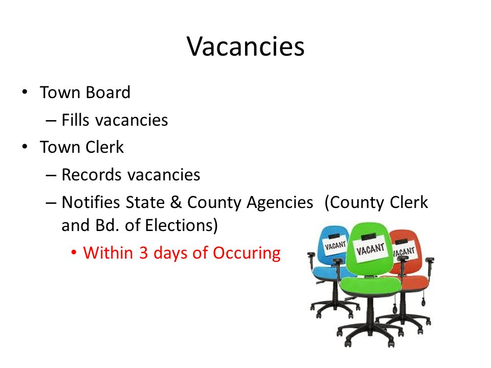 Vacancies Town Board Fills vacancies Town Clerk Records vacancies
