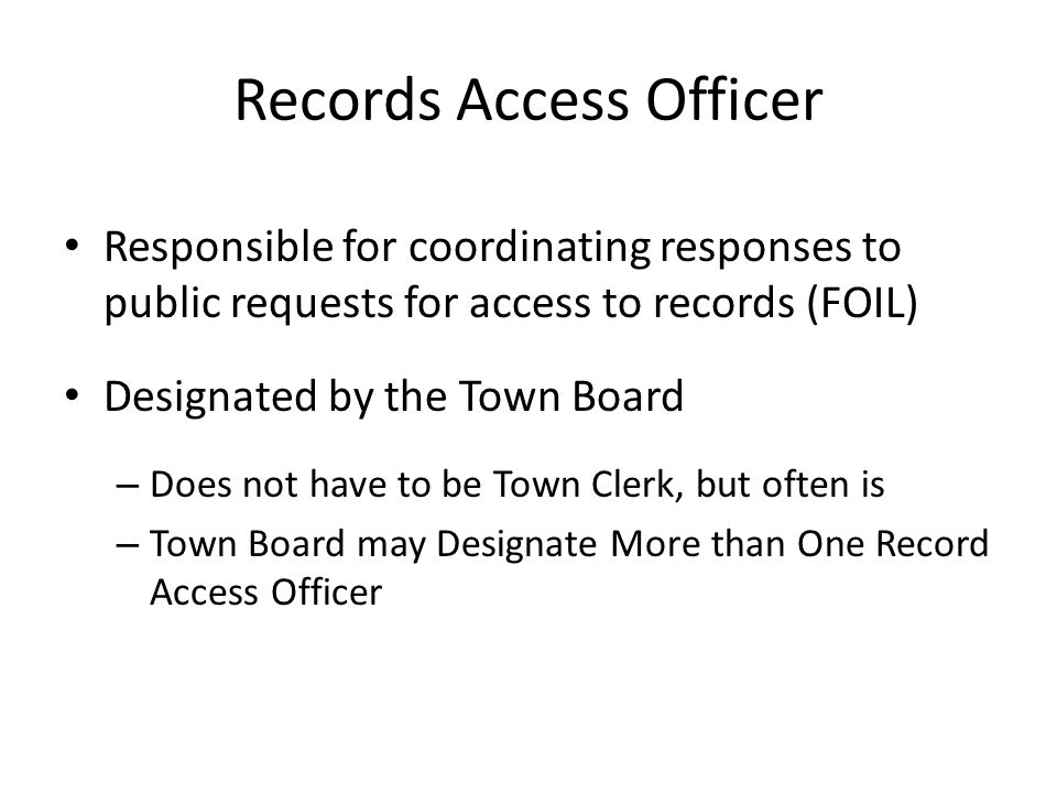 Records Access Officer