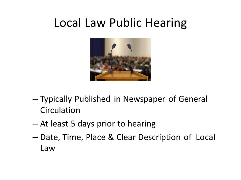Local Law Public Hearing