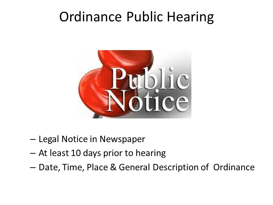 Ordinance Public Hearing
