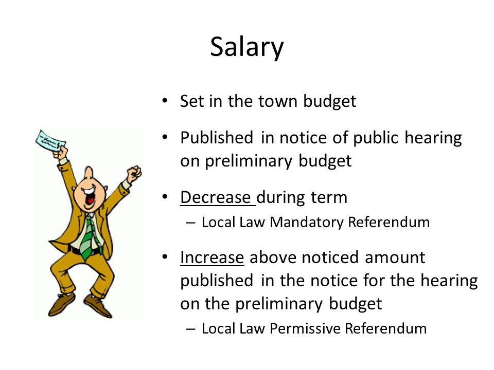 Salary Set in the town budget